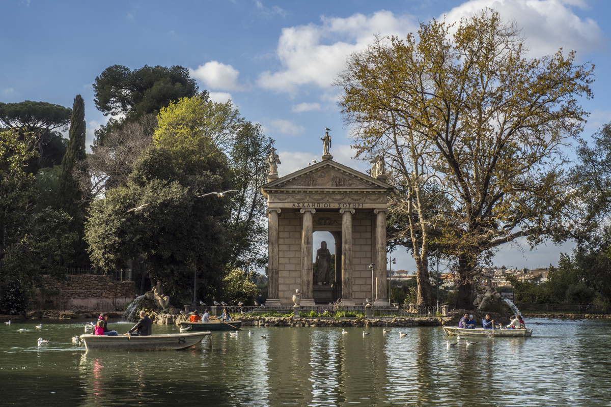 Temple of Aesculapius by the lake in Villa Borghese