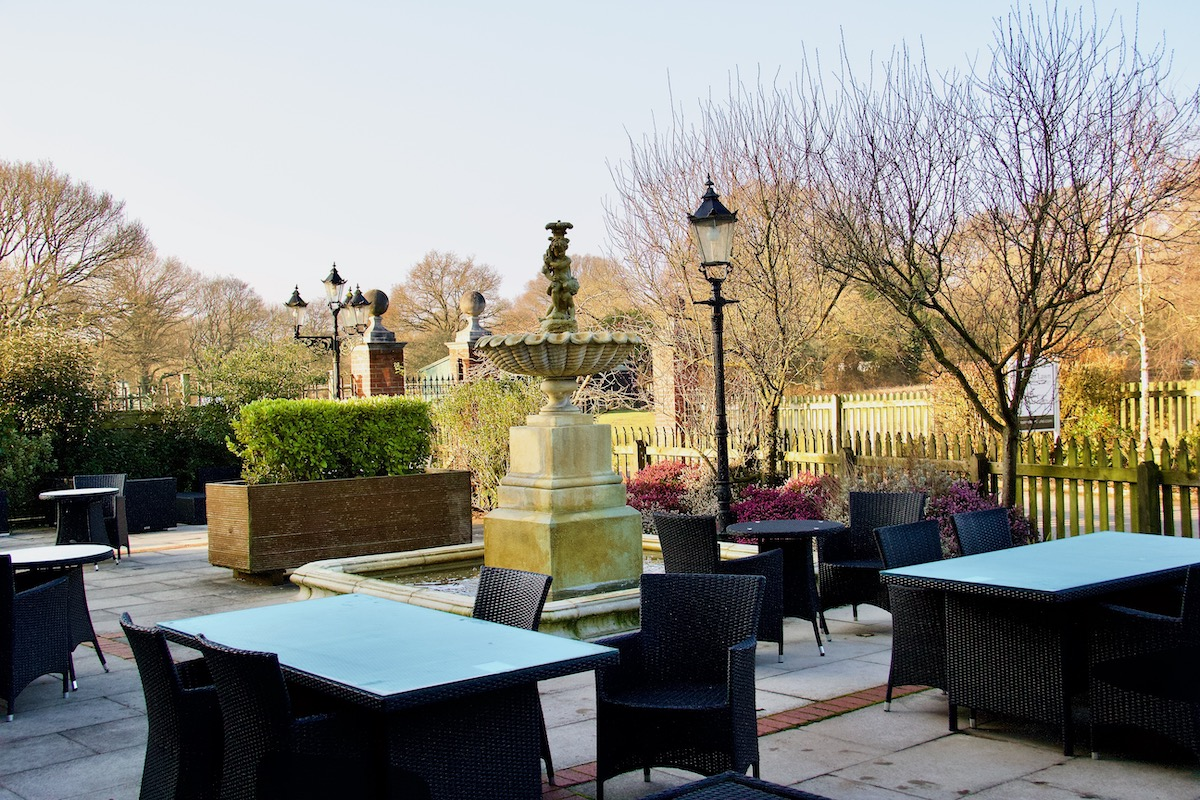Terrace at the Balmer Lawn Hotel in Brockenhurst, the New Forest
