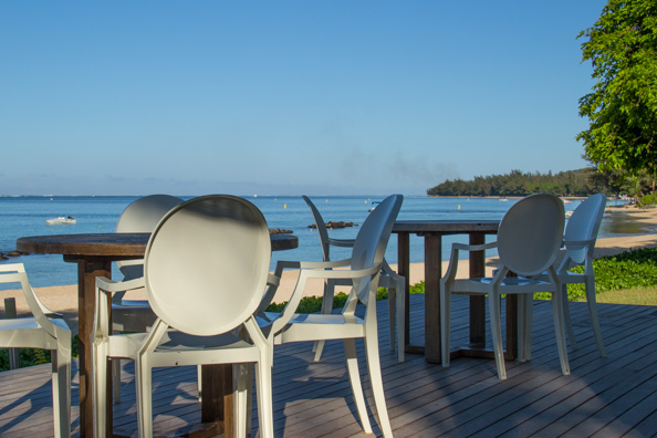 The bar area in front of the Playa beach restaurant at the Tamassa hotel, Bel Ombre on Mauritius