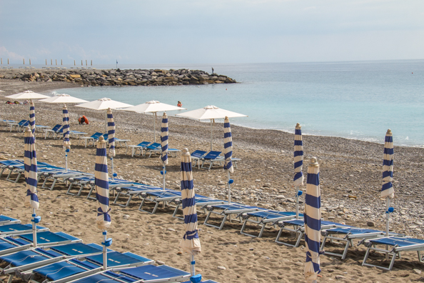 The beach at Bordighera in Liguria, Italy