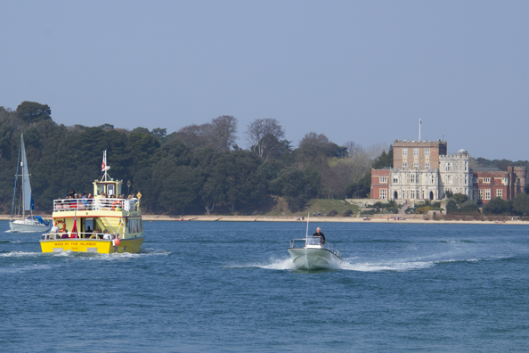 The Brownsea  Island ferry heads for Brownsea Island in Poole Harbour