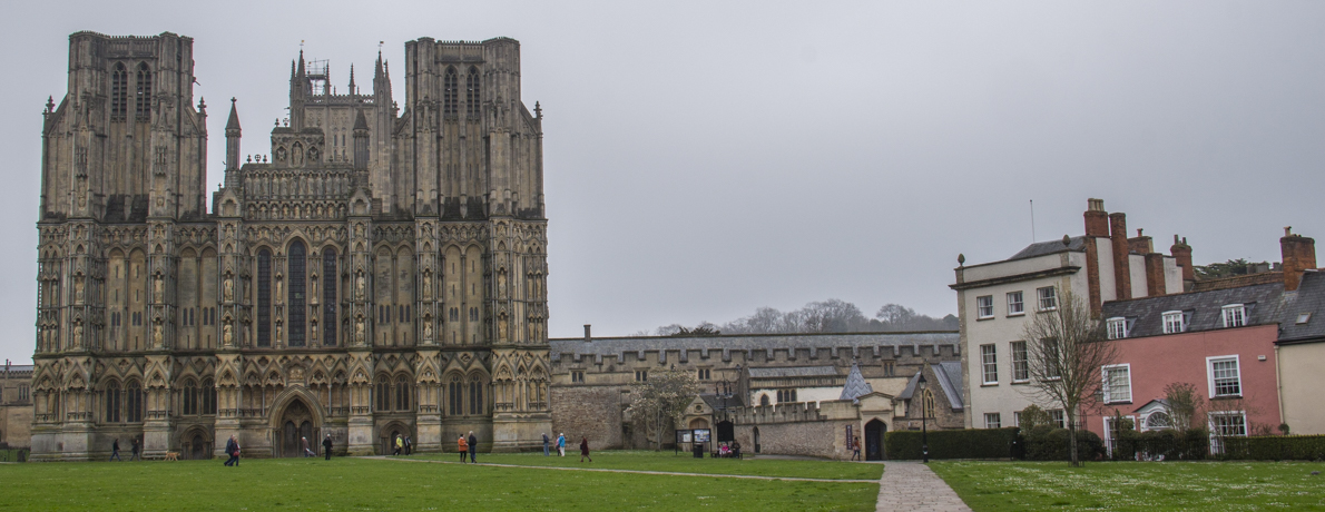The Cathedral and the City of Wells in Somerset, England
