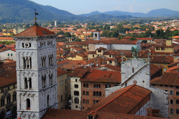 The cathedral of San Michele in Lucca from the Torre dell'Ore