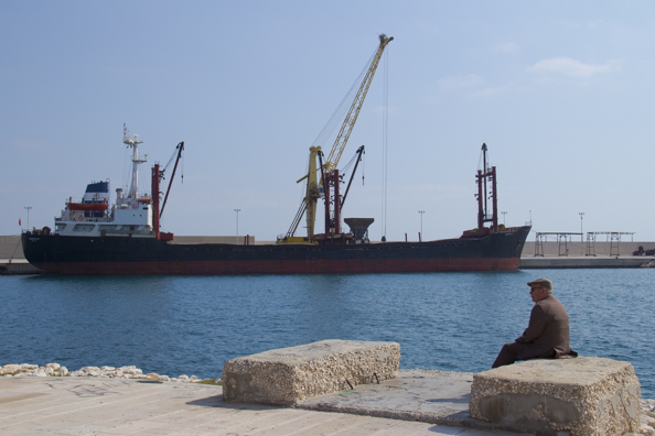 The commercial port in Monopoli, Puglia in Italy