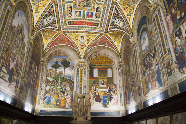 The elaborate interior of the cathedral in Siena in Tuscany, Italy