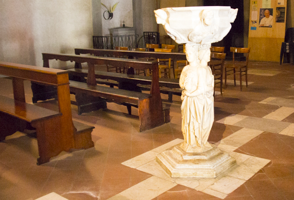 The font in Chiesa di San Giovanni Fuorcivitas in Pistoia in Tuscany, Italy