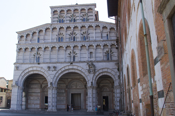 The front of the Cattedrale di San Martino in Lucca, Tuscany in Italy