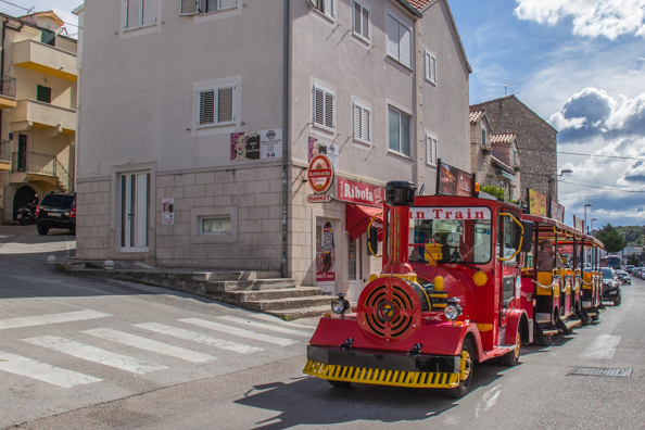 The Fun Train making its way around Makarska in Croatia