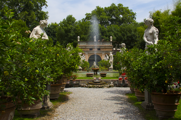 The gardens of Palazzo Pfanner in Lucca, Tuscany in Italy
