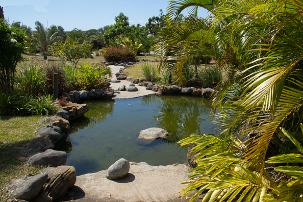 The gardens of the restaurant Restaurant Rêve d'R near Port Louis on Mauritius