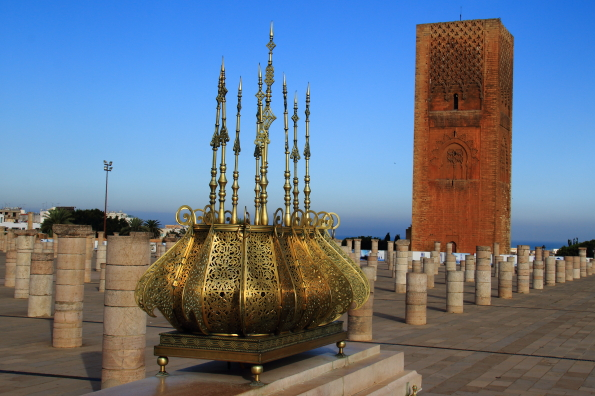 The Hassan Tower from the Mausoleim of Mohamed V in Rabat Morocco