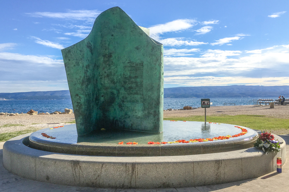 The Homeland War Veterans Memorial in Omis in the Dalmatian region of Croatia