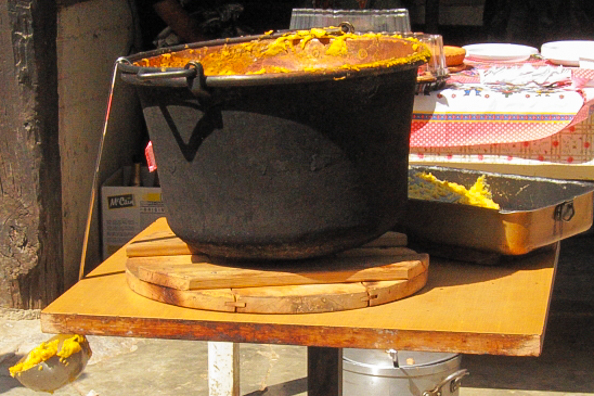 The paiolo used to make polenta in Trentino, Italy