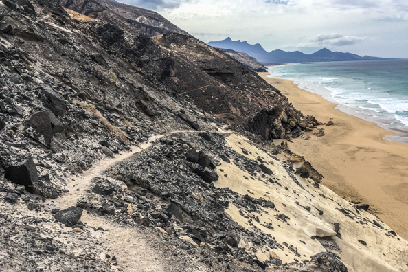 The path to Cofete Beach in the Natural Park of Jandia on Fuerteventura
