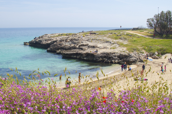 The rugged coastline beyond Monopoli, Puglia  in Italy