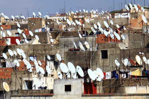 The satellite skyline of the medina in Fez Morocco