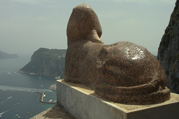 The sphinx on the terrace of Villa San Michele in the town of Anacapri on Capri