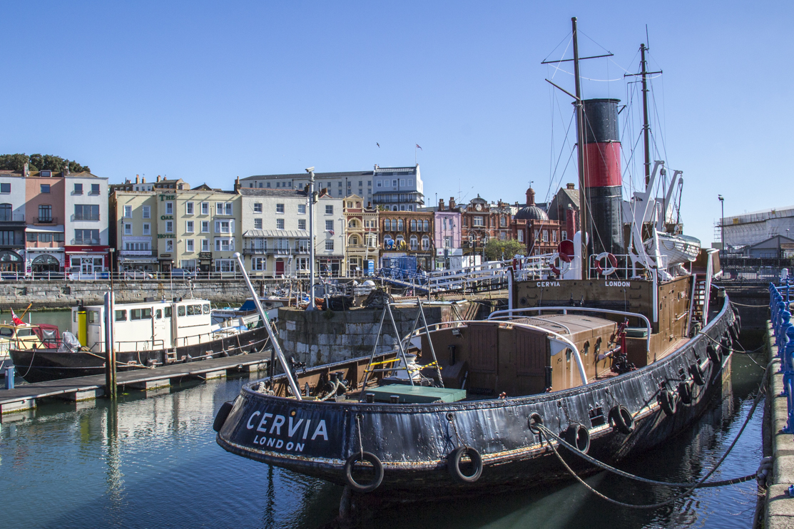 The steam tug Cervia in the Royal Harbour of Ramsgate in Kent 4323