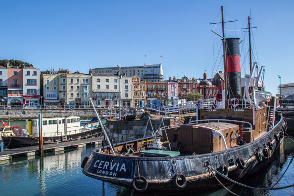 The steam tug Cervia in the Royal Harbour of Ramsgate, Thanet, Kent