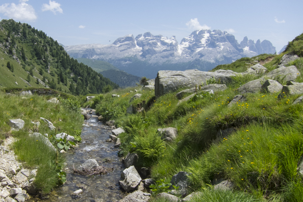 The stream that takes water out of Lago Ritorto, Madonna di Campiglio in Italy