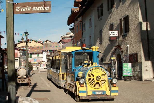 The tourist train that runs between Folgaria and Costa in Trentino, Italy