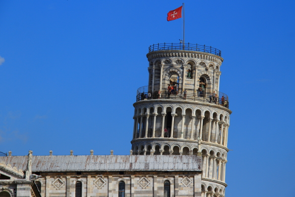 The tower leans away from the cathedral at Pisa