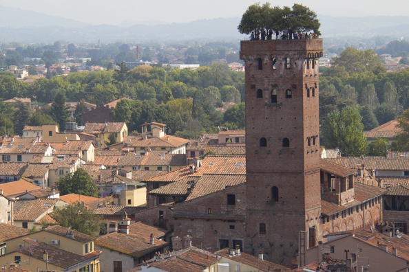 The view from the Clock Tower in Lucca, Tuscany in Italy