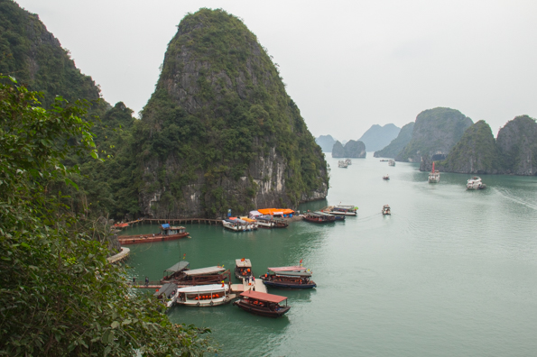 The view from the Dau Go Cave in Halong Bay in Vietnam