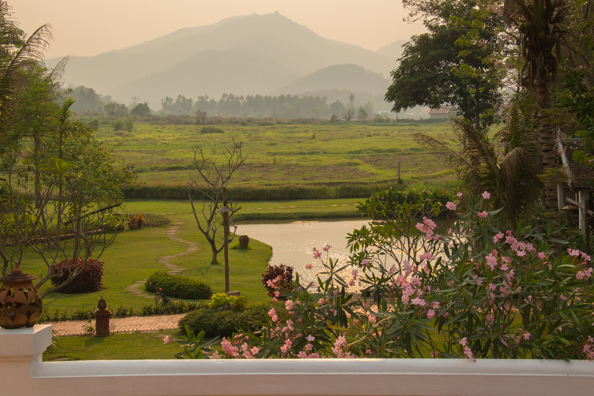 The view from the veranda of the restaurant of the Hotel Santi Resort in Luang Prabang in Laos