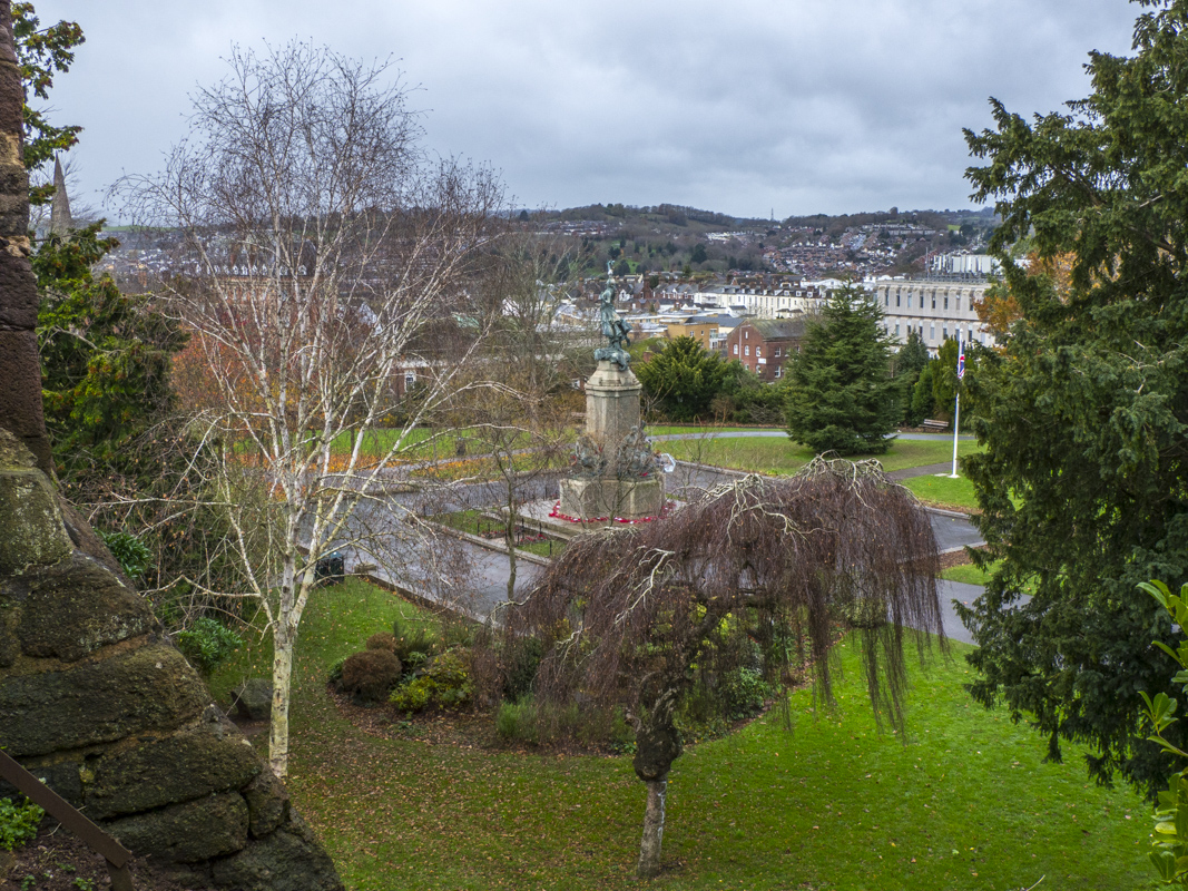 The View of Northernhay Gardens from the City Walls in Exeter, Devon   060236