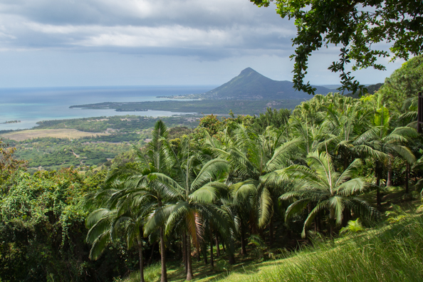 The view of the sourh-west coast of Mauritius from Le Chamarel restaurant on Mauritius