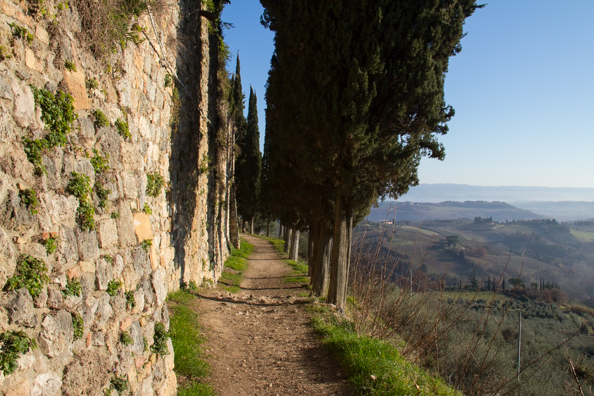 The walk around teh city walls in San Gimignano, Tuscany Italy