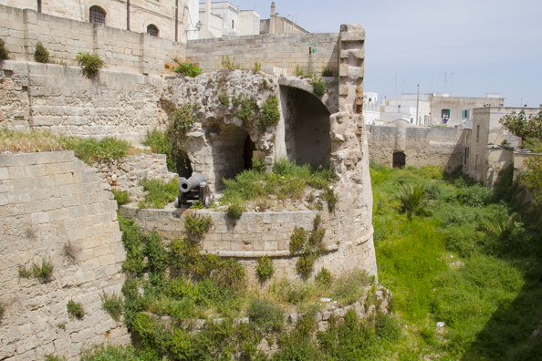 The walls of the old town of  Monopoli in Puglia, Italy
