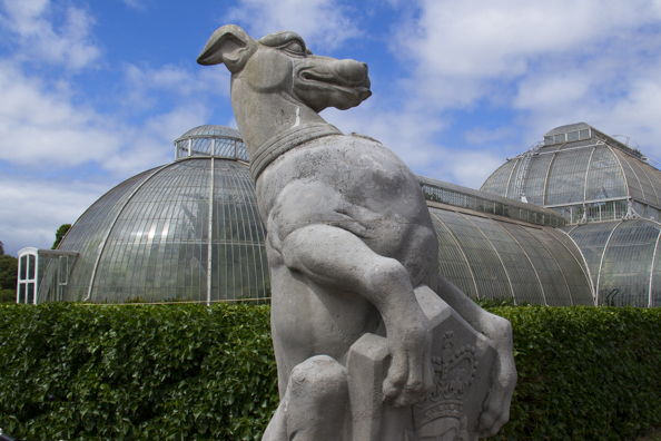 The White Greyhound of Richmond outside the Palm House at Kew Gardens London