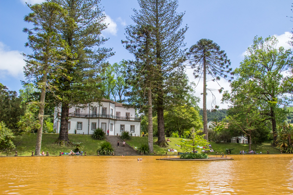 thermal pool in Terra Nostra Garden in the Furnas Valley on São Miguel Island in the Azores
