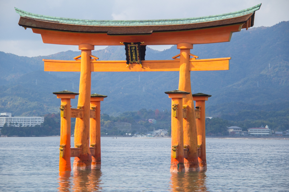 Torii gate of Itsukushima Shrine on Miyajima Island, Hiroshima in Japan