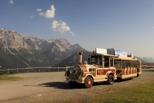Tourist train leaving Malga Ritorto Madonna di Campiglio