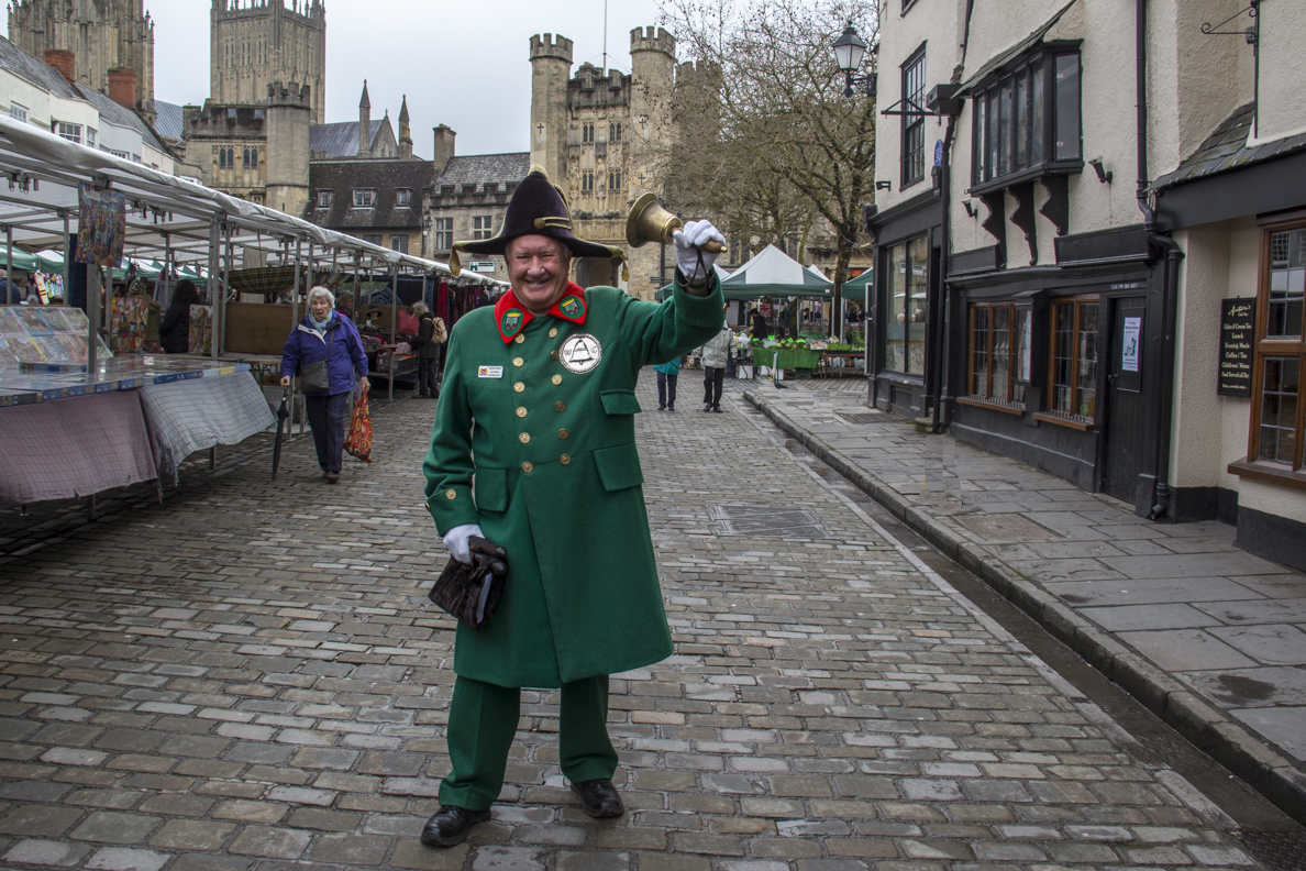 Town Crier in the Market Place in Wells, Somerset, England  5574