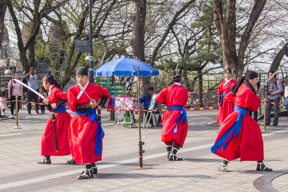 Traditional dancers at Namson Seoul Tower in Seoul, South Korea