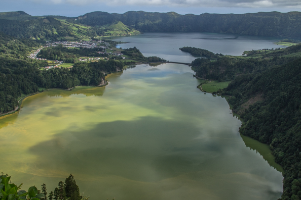 Twin Lakes in the valley of Sete Cidades on São Miguel Island in the Azores