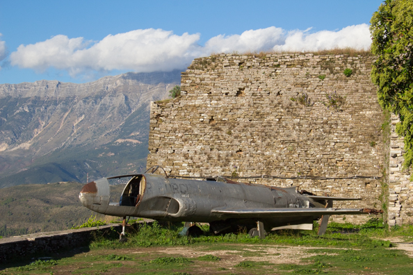 US Air Force plane in the fortress above Gjirokaster in Albania