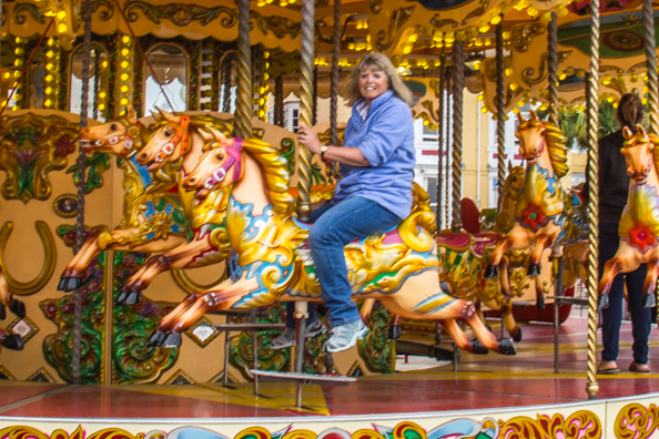 Valery on the Galloping Horses Carousel in Weymouth, Dorset