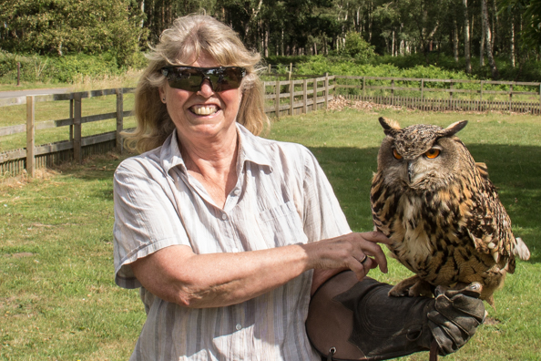 Valery with Matilda, European eagle owl, at Sherwood Hideaway Near Ollerton, Notts, UK