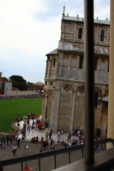 View from inside the Leaning Tower of Pisa - everything leans