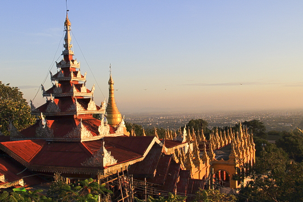 View from Su Taung Pyi Pagoda  the top of Mandalay Hill in Mandalay Myanmar