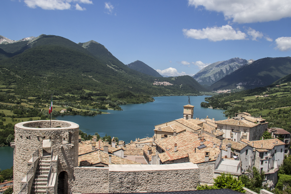 View from the castle in Barrea of the town and Barrea Lake n Abruzzo, italy  0120