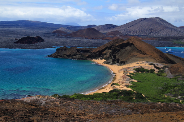 View from the lighthouse on Pinnace Rock Bartolome Island in the Galapagos Islands