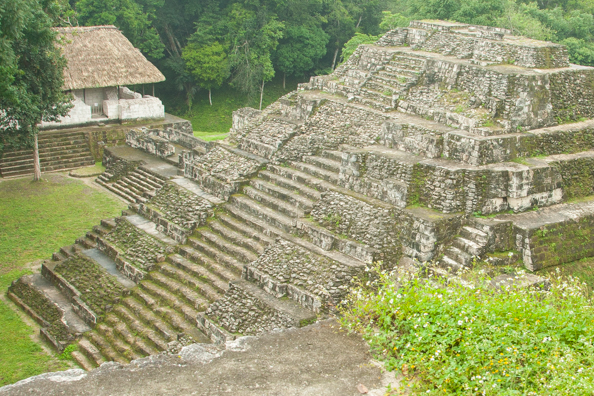 View from the top of a Mayan temple at Yaxha in Guatemala