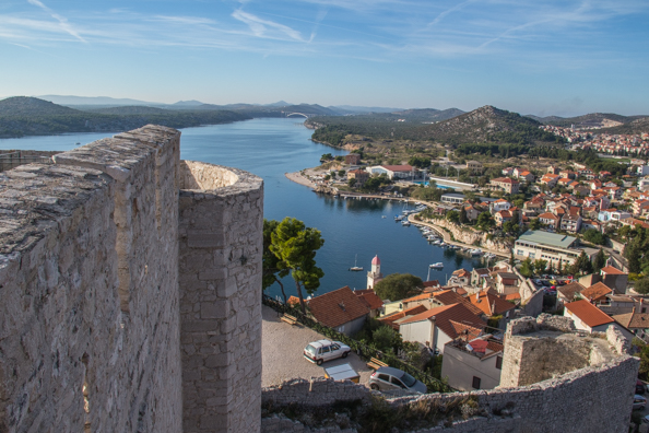 View from the top of Saint Michael's Fort in Šibenik in the Dalmatia region of Croatia