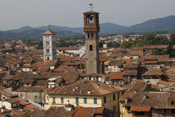 View from the top of the Guinigi Tower in Lucca, Tuscany in Italy